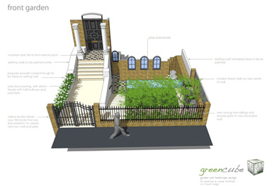 the 3d design perspective for this garden design in Blackheath, london
