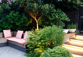 the finished modern garden design in kings hill
