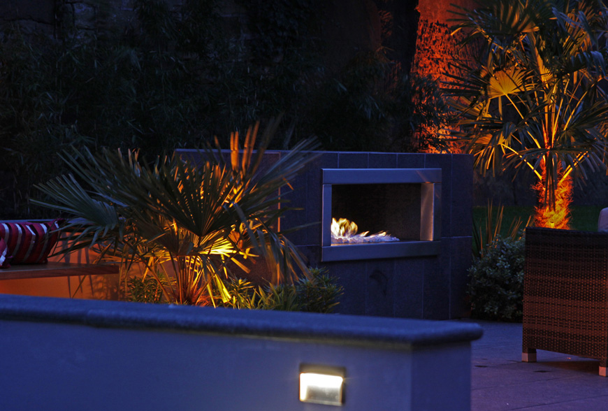 outdoor gas fire adds warmth to this tunbridge wells garden by greencube