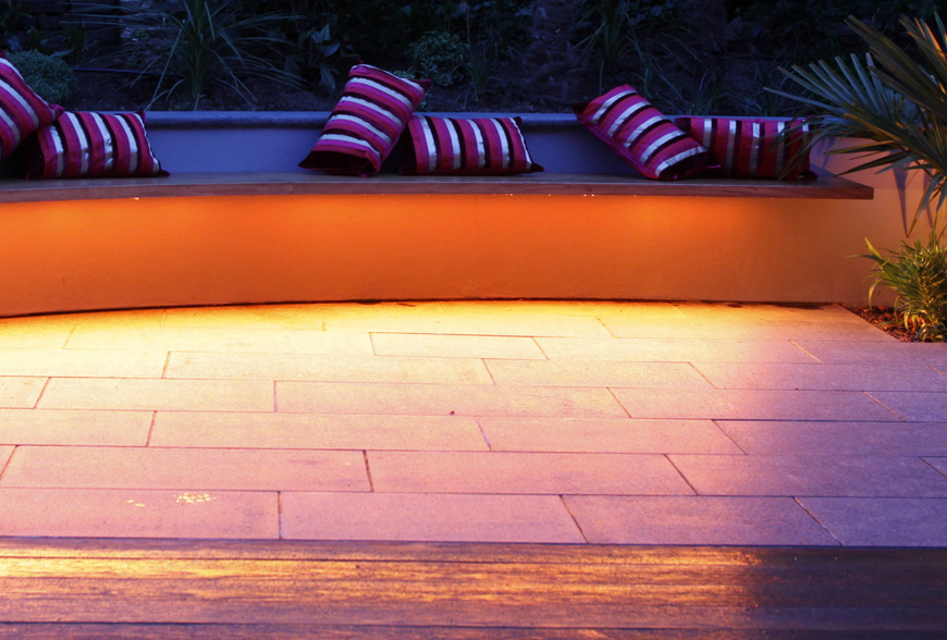 this bench has a simple strip of led that colour changes, tunbridge wells, kent