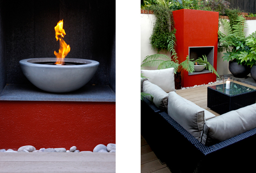 a bioethanol firebowl used by greencube garden design in this modern garden in caterham, surrey