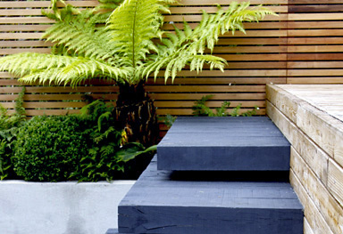 contrasting cantilevered steps lead you up to the sliding doors in this compact garden design in sevenoaks, kent