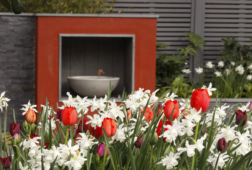 focal point fireplace in new barn, kent by greencube garden design
