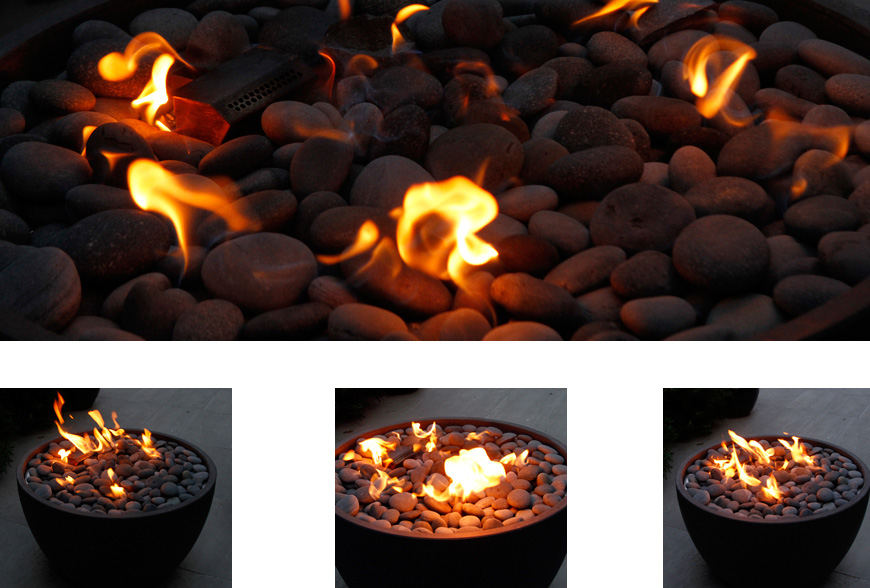 gas fire bowl, focal point, greencube garden design