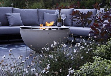an ethanol firebowl features in our contemporary garden design in Westerham kent
